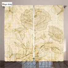 Curtains With Flowers Living Room Bedroom Flourishing Rose Spring Butterflies Grungy Retro Art Beige 2 Panels Set 145*265 sm