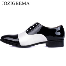 JOZIGBEMA Fashion Men Office Shoes PU Patent Leather Men Dress Shoes Mixed White Black Male Soft Leather Wedding Oxford Shoes(China)