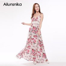 Buy Ailunsnika Summer Women Plus Size Dress Bohemian Beach Print Dress Sexy Sleeveless Spaghetti Strap Backless Maxi Dress SQ19191 for $23.51 in AliExpress store