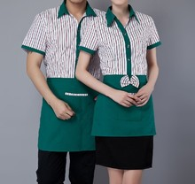 Women Chef Uniform Chef Uniform Sale Acrylic Cotton Restaurant Waiter Overalls Short Fast Food Restaurants And Striped Shirt