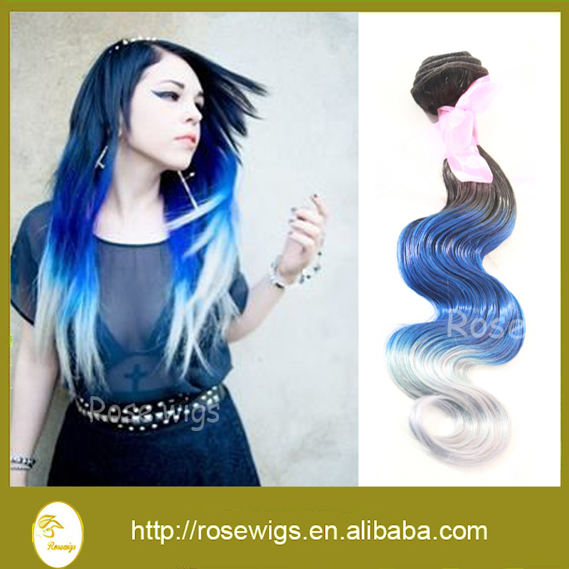 Newness Ombre Hair Extensions Body Wave Brazilian Three Tone Color 100% Human Hair Weaves T1b# blue and Silver<br><br>Aliexpress