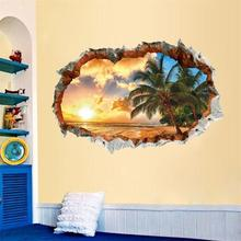 Romantic Vacation sunset coconut trees scenery seascape Wall Sticker Household adornment wallpaper Home Decor Poster