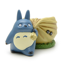 8cm Miyazaki Hayao My Neighbor Totoro PVC Action Figure Cute Blue Totoro Flower Pot Collection Model Toy for Garden Home Decor(China)