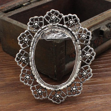 10pcs/lot Antique Silver Cameo/Glass/Cabochon Frame bezel Settings,Brooch,DIY Accessory Pendant Charm 60x51mm(fit 40x30mm)K04039(China)