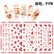 4Pcs Water Transfer Heart Lips Nail Stickers Makeup 3d Sweety Art Decals Wraps Decoration Butterfly Bow Design Valentine China
