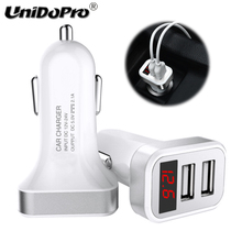 UNIDOPRO 5V 2.1A Dual USB Car Charger with LED Screen Smart Charging Adaptateur for Vernee Mars Pro Apollo X USB Car Chargeur(China)