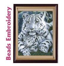 37 см 46 см Бусины вышивка Точная печатных белый тигр Материнство Полный Бисероплетение крючком Acessórios де Costura manualidades DIY(China)