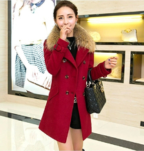 2016 New Fashion Winter Blends Long Wool Coat Slim Double Breasted Coat Fur Collar Women Overcoat