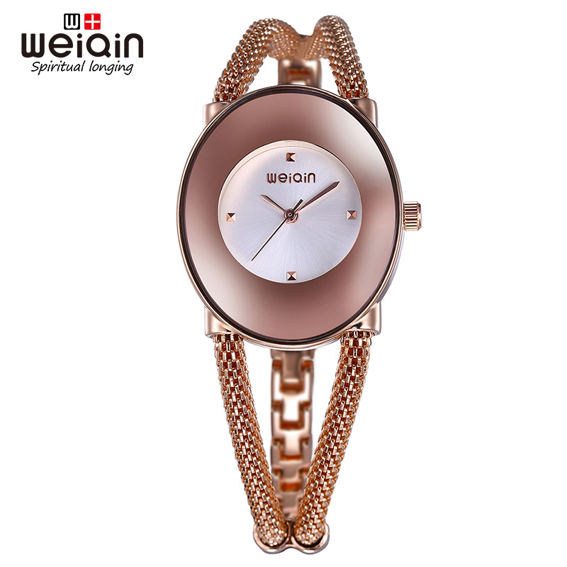 WEIQIN Simple Fashion dial Oval Rose Gold Silver Female Watches Fashion Popular Women wristwatch<br>