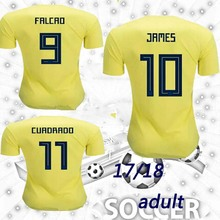TOP QUALITY 2018 World Cup Colombia home yellow soccer jersey 17 18 away blue FALCAO JAMES CUADRADO TEO BACCA football shirts(China)
