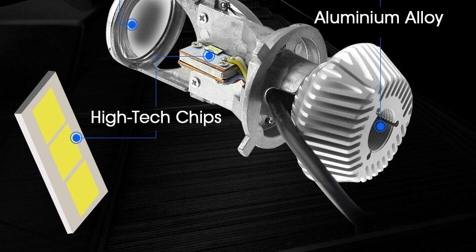 6 hlxg 70WPair H4 LED Mini Projector Lens Automobles LED Bulb LED Conversion Kit Lamp HiLo Beam Headlight 12V24V 5500K White