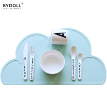 BYDOLL Waterproof Soft Silicone Placemat Bar Mat For Baby Kids Children Cloud Shaped Plate Mats Table Mat Set Home Kitchen Pads(China)