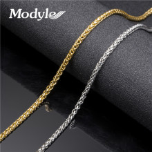 Modyle 2017 New Men Stainless Steel Chain Gold-Color Chain Byzantine Thick Stainless Steel Mens Necklace Jewelry(China)