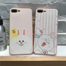 New Cute Cartoon Hello kitty pink rabbit cover case for iphone 6s 6 Plus coque For iphone X 7 7plus 8 Plus capa fundas cases(China)