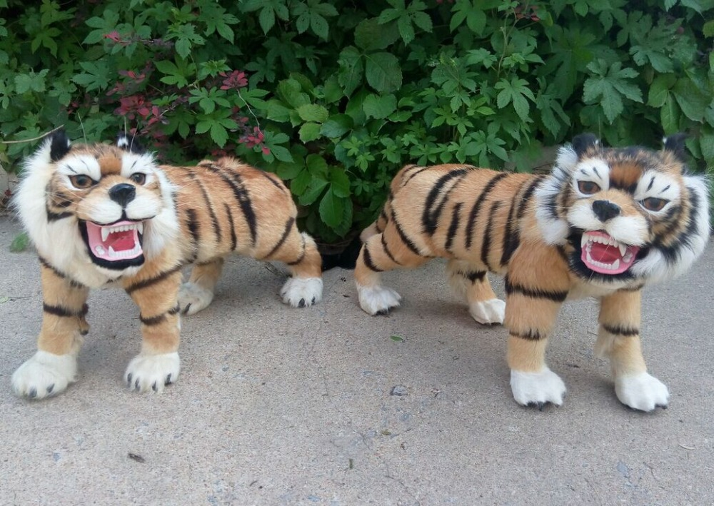 a pair of new simulation tiger toys creative resin&amp;fur tiger crafts dolls gift about 60x36cm<br><br>Aliexpress