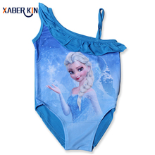 New 2016 Girls One Piece Summer Beach Wear Cartoon Elsa Design Swimsuit For Baby&Girls Swimwear Children Swimsuit SW073-CGR1