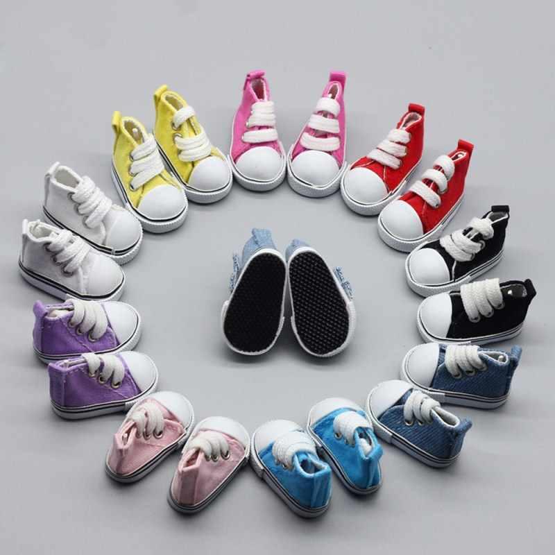 1//6 BJD Doll Shoes 5cm Mini Canvas Shoes Jeans Shoes for DIY Handmade Doll
