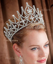 Venus Jewelry Women's 4 Tall Beauty Pageant Queen Royal Full Crown - Silver Plated Clear Crystals
