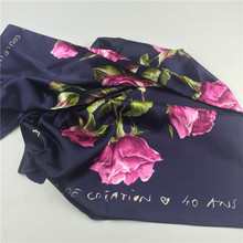 Navy Blue Paris Roses Large Square Scarves New Female Elegant women Large Silk Scarf Fashion brand Ladies Accessories 90*90cm