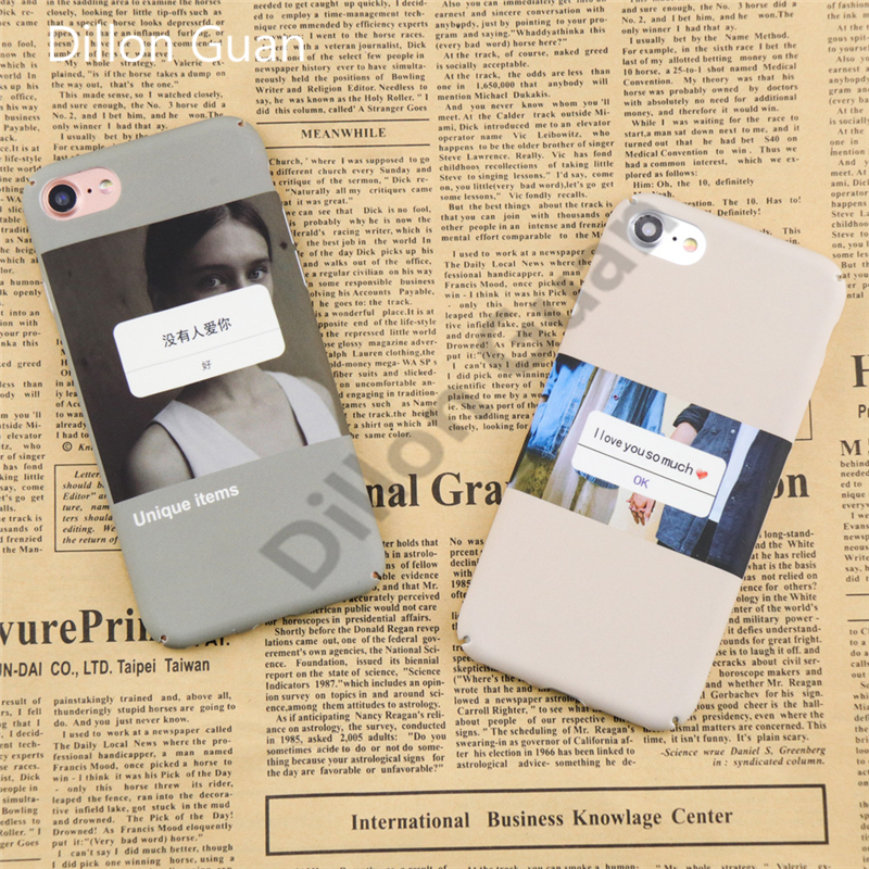 iphone 7 case Romantic Letter Print Back Cover iphone 8 case DILLON GUAN Love Letter ''I Love You'' Hard Frosted Cover