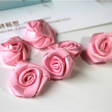 50pcs/lot handmade 25mm Satin Ribbon Rose Rosettes Fabric Flower DIY Wedding Decor Hair Bow Appliques Craft Sewing Accessories(China)