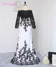 2017 Paris Hilton Celebrity Dresses Mermaid High Collar Long Sleeves Black White Appliques Long Red Carpet Dresses