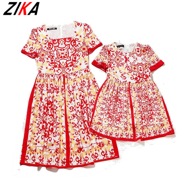 ZIKA 2015 brand new family look Matching mother daughter clothes printing sleeve dress red family matching clothes k40<br>