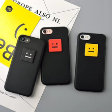 New Hot For Iphone 6 6S Plus 7 7 Plus Classic Funny DIY Square Smile Face Covers Soft TPU Anti Shock Mobile Phone Case YC2221