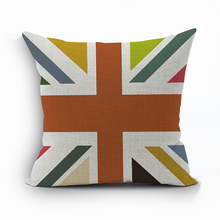 New Square colorful Home Decorative soft seat car Cushion Covers linen British flag suit hot love cushion  almohada L(342)