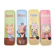 Kawaii Cartoon Animal Tin Pencilcase Box Desktop Storage Box Tin Pencil Case School Cute Stationery Gift Office Supplies Hot