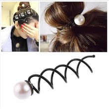 2X Girls Pearl Spiral Spin Screw Bobby Hair Pins Clips Twist Barrette Accessory(China)