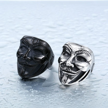 BEIER 2017 New V for Vendetta Mask Ring Stainless Steel Ring Jewerly Wholesale Factory Price Movie Guy Fawkes Mask Ring BR8-208