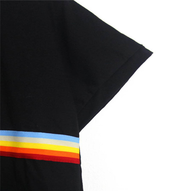 Sexy Black O Neck Rainbow Patchwork Short Sleeve Casual Tee