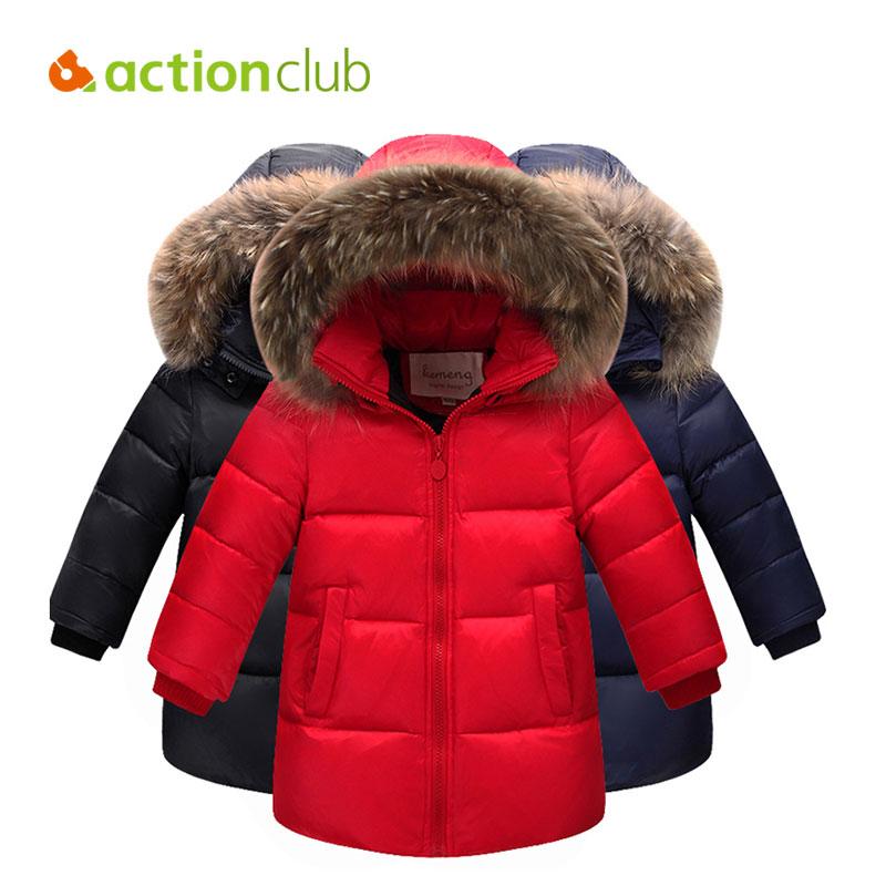 Actionclub Children Duck Down Winter Warm Jacket With Fur Baby Boy Girl Solid Overcoat Hooded Winter Jacket Kid Clothing Coat<br>