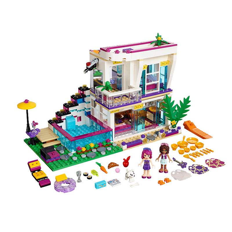 619PCS Bela 10498 Girl Friends Livis Pop Star House Building Blocks Friends Andrea Mini-doll Figures 41135 Toys For Kids Gifts<br>