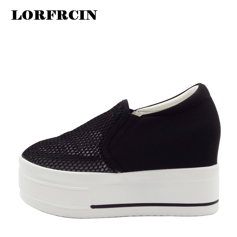 LORFRCIN Women Platform Shoes 9cm Height Increasing Slip On Shoes Mesh Summer Wedges Woman Pumps Black White Hidden Heel Shoes<br>