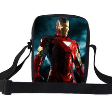 2015 Cool Kids Small Characters Shoulder Bags The Avengers Superhero Ironman Messenger Bag For Boys School Children Shoulder Bag(China)
