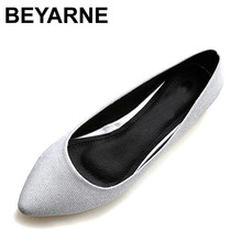 BEYARNE New Leather Lining Women Leather Flats Canvas Silver Basic Pointy Toe Ballerina Ballet Flat Slip On Wedding Shoes