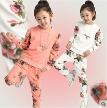 New Brand 2017 Children Spring Fall Clothing Sets Girls Fashion Floral Splicing Sports Suits Kids Sweet Casual Clothes 2 Pcs G45(China)