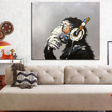 High Quality Modern Oil Painting Listening Music Monkey Canvas Painting Knife Palette Art Painting for Wall Decoration Unframed