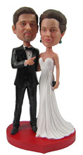 Fedex free shipping Personalized bobblehead doll ' look ' wedding gift  polyresin fixed body with personalized head