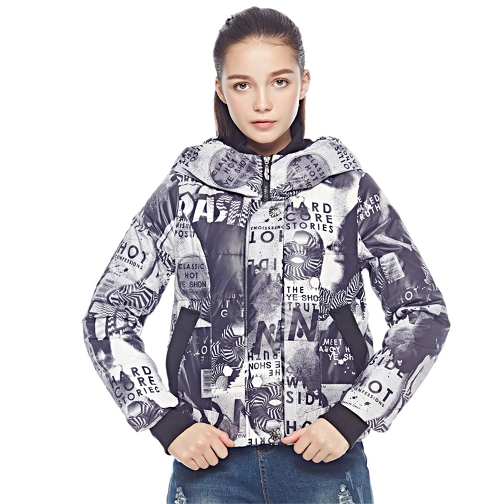 Camouflage Women Down Coats Jackets Short Woman Down Parka With A Hat Fashion Female Winter Coat Girl Winter Collection YIW6F12
