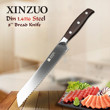 "XINZUO high quality 8"" inch bread knife cake knife GERMAN 1.4416 stainless steel kitchen knife cook tool with Pakka wood handle"
