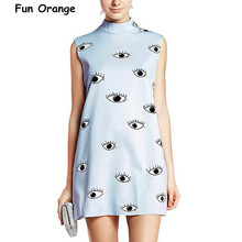 Fun Orange Latest New Women Casual Blue Eyes Print Sleeveless Turtleneck High Street Mini Shift Dress