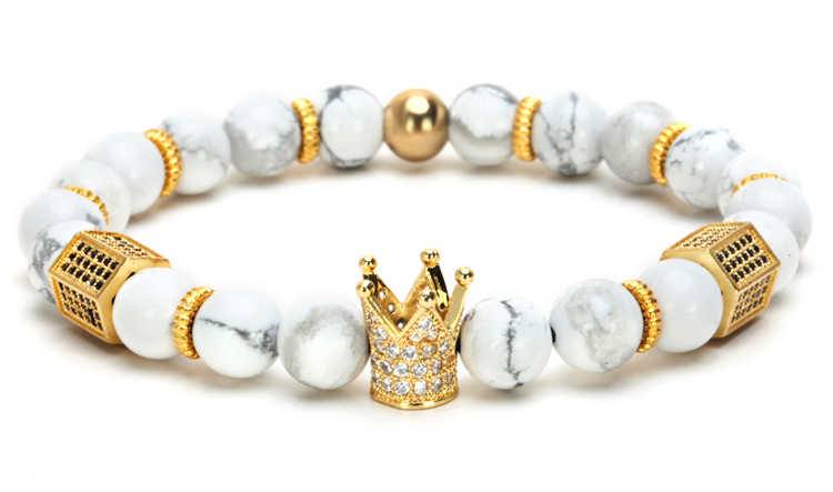 King Crown Charm & Lava Stone Beaded Bracelet