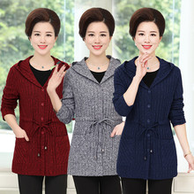 SexeMara Coat Sweater 2017 Spring Fall New Middle Age Mother Plus Size 5XL Women Knitted Hooded Cardigan 4XL 3XL 2XL 1XL