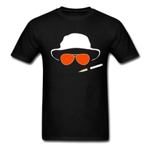 man Fitted Causual t-shirt Sites hat and Glasses Tees with Fear and Loathing in Las Vegas Men On Sale Designs Clothing(China)