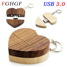 FGHGF USB 3.0 Wooden Heart Memory Stick Pen Drive 4gb 8gb 16gb 32gb Company Logo customized Wedding Gift photography gift