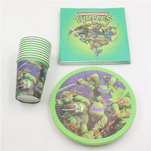 60pcs Decoration Party Kids Favors Paper Napkins Plates Cups Baby Shower Dishes Birthday Ninja Turtle Glasses Supplies Tableware