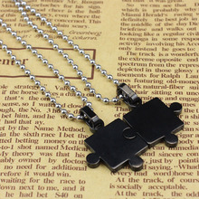 2017 Hot Sale Crystal Mens Women Couple Stainless Steel Puzzle Pendant Necklace New Arrival Ball Chain Necklace